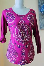 NWT Lucky Brand WoM M Purple Lotus FLORAL TOP SHIRT TEE BLOUSE 3/4 SL BERRY