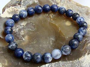 Men's Bracelet NATURAL Gemstone 8mm BLUE SODALITE beads Elastic stretchable