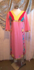 Pink Vintage Indian Tunic top.calf length,side splits, embroidered ruffle detail