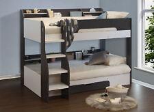 Flick Grey Wooden Bunk Bed Frame Childrens Under Bed Drawers Shelving Storage