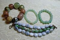 VINTAGE TO NOW CHUNKY GREEN & GRAY LUCITE & GLASS BEADED BOHO BRACELET LOT