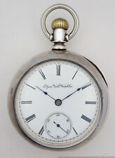 Silver Mens Running Pocket Watch Antique Gm Wheeler Elgin 18s Coin