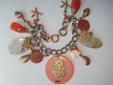 Vintage Sea Theme Charm Bracelet Coral Colored Beads Starfish Shells