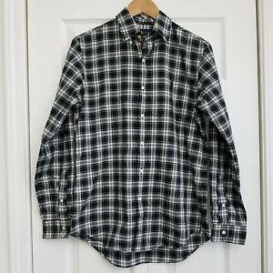 Ralph Lauren Mens Pony Logo Buttondown Shirt Black Plaid Size Small Cotton