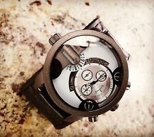 Black Leather Watch Leather Cuff Wrist Watch Big Wide Leather Band Bracelet Cuff