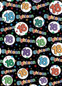2 Sheets 18th Birthday Wrapping Paper Age 18 Wrap Female / Male Black Multi (ex)