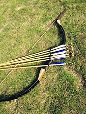 Handmade Chinese Traditional Longbow Mongolian Bow 20-60lb +6 wood arrows