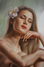 """Original oil on canvas quiet girl female nude hand-painted signed 24""""x32"""""""