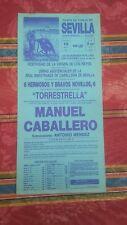 1990 Cartel Plaza de Toros Sevilla Extraordinaria Novillada Manuel Caballero