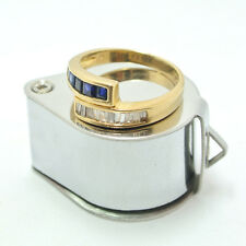 0.50ct Diamond and 0.50ct Blue Sapphire Ring 18k Yellow Gold
