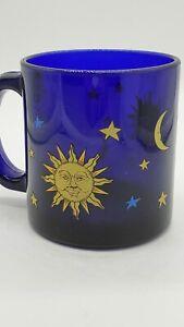 Vintage Libbey Cobalt Blue Friends Celestial coffee mug