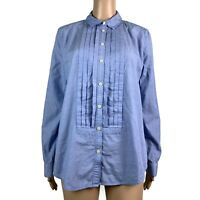 Ann Taylor Loft Womens Shirt Button Down Up Top Pleated Oxford Blue Size Medium