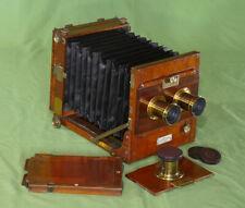 Perken Son & Rayment Stereo Half Plate Tailboard Camera Mahogany Brass c.1880