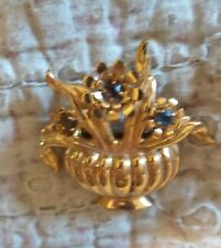 VINTAGE COPPERISH FLOWER POT BROOCH WITH RHINESTONES CORO?