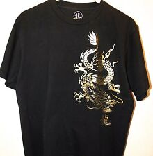 Black Men's T-Shirt Metallic Dragon Oriental Print Large      Graphic Asian