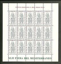 FOGLIETTO IPZS ITALIA ERINNOFILO 1987 XLII FIERA  MEDITERRANEO PALERMO 15 BOLLI