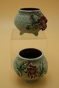 1950's FINEST MAJOLICA CERAMIC A PAIR OF POT PURPLE FLOWERS WASMUEL ONNAING #34