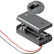 Batteriehalter - 2 fach - für 2 x AA Mignon - mit Deckel und EIN AUS Schalter