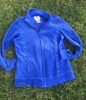 Quaker Factory Size Small Blue Velour Track Jacket Rhinestone Cross Embellished