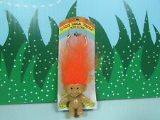 "TROLL KEY CHAIN - 2"" Russ Troll Doll - NEW ON CARD - Orange Hair"