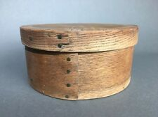 Antique Primitive 19th Century Bent Wood Pantry Box With Lid, Copper Nails 7.25""