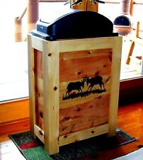 DEER WOOD KITCHEN TRASH CAN BIN 30 GAL CABIN WESTERN DECOR ANTLERS