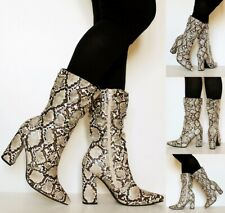 Ladies Womens Party Animal Snake Print 4 Inch Mid High Heel Mid Calf Boots -1165