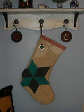 Primitive Christmas Stocking from Vintage/Antique Star Quilt, Handmade in Usa