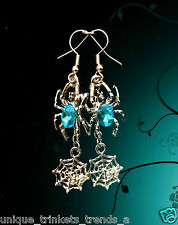 TURQUOISE BLUE ZIRCON CRYSTAL SPIDER WEB DANGLE SILVER EARRINGS~HALLOWEEN GIFT