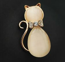 Brooch Tail bow animal unwanted gift Lovely Pink Rose Gold Tone crystal Cat