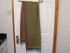 """NEW AND UNUSED WOVEN SCARF FROM INDONESIA? 64"""" X 13"""" WITH 3"""" TASSELS SAGE GREEN"""