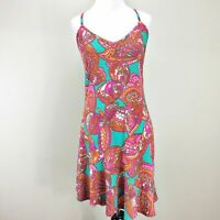 Trina Turk Dress Small Pink Turquoise Jersey Knit Moonlight Butterfly Print