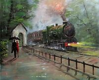 100%Hand-painted Art Oil Painting Landscape Steam train 16*20inch Signed