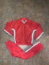 Super Rare Vintage Adidas Originals Tracksuit Windbreaker Pants Red White Sz M
