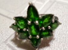 NATURAL RUSSIAN CHROME DIOPSIDE(4.21ctw) OVAL & PEAR STERLING SILVER RING,SIZE 8