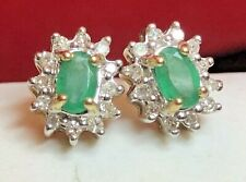 ANTIQUE  ESTATE 14K GOLD NATURAL GREEN EMERALD & DIAMOND PENDANT HALO SIGNED AJ