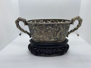 Antique Chinese Export Hung Chong Silver Pierced Dragon Handled Bowl Ebony Stand