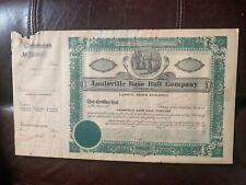 1930 Louisville Baseball Company Stock Certificate
