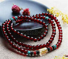 6mm 108 Tibet Pure Natural Garnet Buddhist Bracelet Prayer Bead Mala Necklace