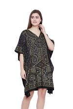 Women Black Plus Size Tunic Dress Printed Bohemian Summer Casual Short Tunic Top