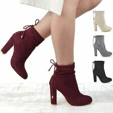 New Womens Smart Block Heel Stretch Upper Ladies Pull On Chelsea Ankle Boots