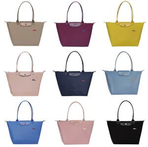 Womens Longchamp Le Pliage 1899 Nylon Embroidery Horse Tote Handbag Bag Size L