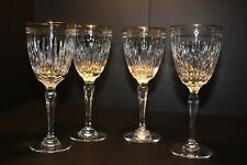 "WATERFORD CRYSTAL MARQUIS Hanover Gold Wine Stems  ""Lot of 4""."