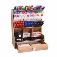 Wooden Pencil Holder Desk Pen Organizer Desktop Storage Box Rack With Drawer