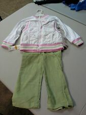 kids headquarters NWT girls 3 piece outfit vest shirt pants ,white, pink & green