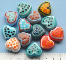 13 x mix of chunky heart shaped, lampwork, glass beads, 104 gms   107