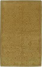 Contemporary Tibetan Yellow-Green Handwoven Silk and Wool Rug N11211