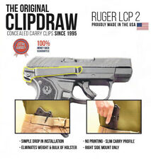 Clipdraw Belt Clip for Ruger LCP 2 II 380 & .22 IWB Black - Right LCP II Holster