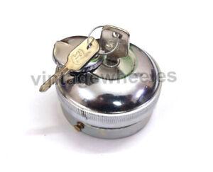 Vintage Chrome Plated Locking Petrol Tank Cap + Keys Fit For Morris Oxford Cars