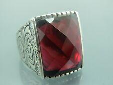 Turkish Handmade Jewelry 925 Sterling Silver Ruby Stone Men Ring Sz 12
